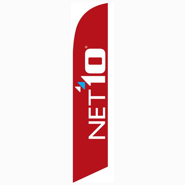 [Not Available] Net10 Wireless red Feather Flag Banner