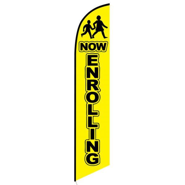 Now Enrolling yellow Feather Flag Banner