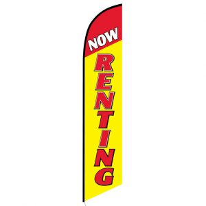 Now renting yellow Feather Flag Banner