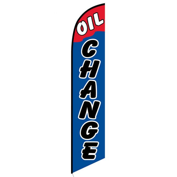 Oil Change Blue and Red Feather Flag Banner