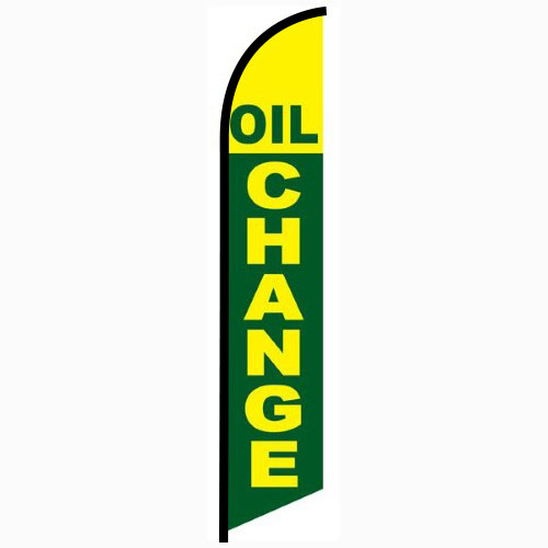 Oil Change Green and Yellow Feather Flag Banner