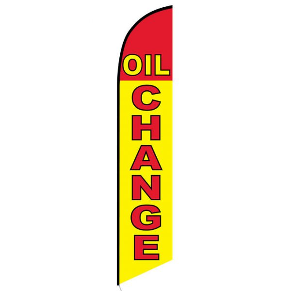Oil Change Yellow and Red Banner Flag