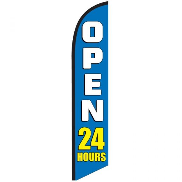 Open 24 Hours Blue Feather Flag Banner Banner NSFB-5823