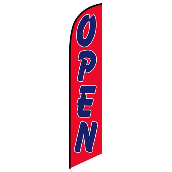 Open (red and blue) Feather Flag Banner