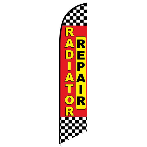 Radiator Repair red checkered Banner Flag