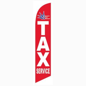 Red Liberty Tax Feather Flag Banner