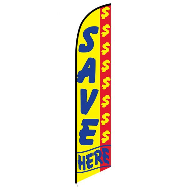 Save Money here Feather Flag Banner