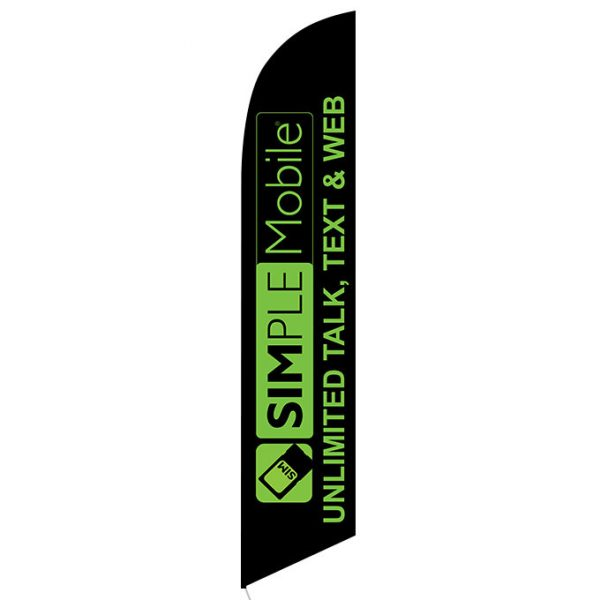 Simplemobile Wireless Unlimited Talk Text Web Feather Flag Banner