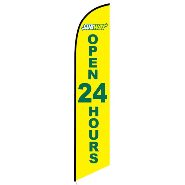 Subway Open 24 Hours Feather Flag Banner
