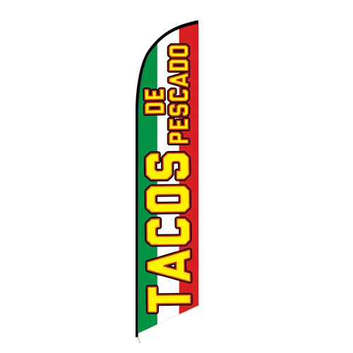 Tacos de Pescado Mexican Food Feather Flag Banner