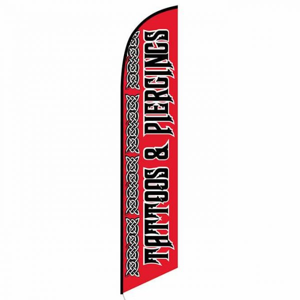 Tattoos and Piercings Feather Flag Banner