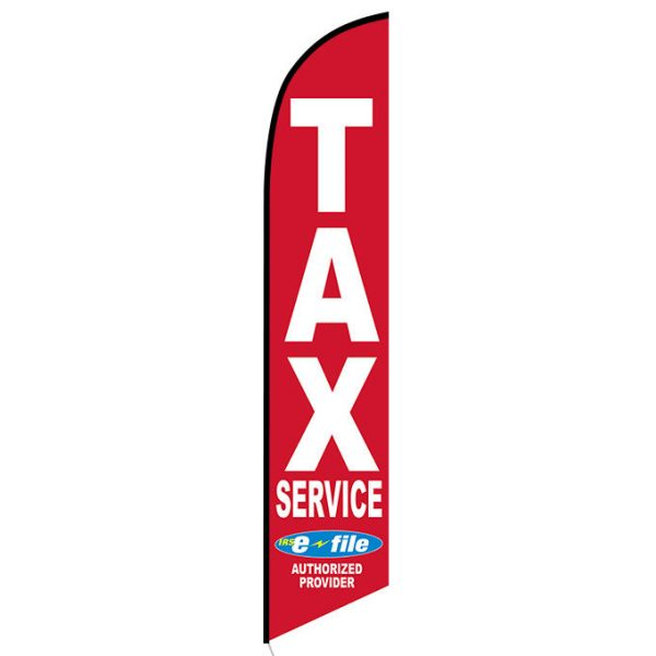 Tax Service Feather Flag Banner e-file red