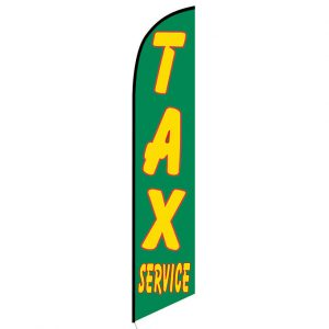 Tax Service Feather Flag Banner Green
