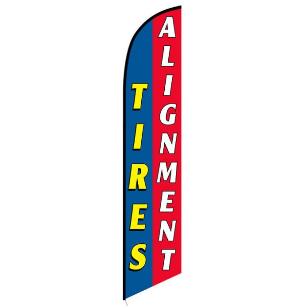 Tires Alignment Blue Red Banner Flag