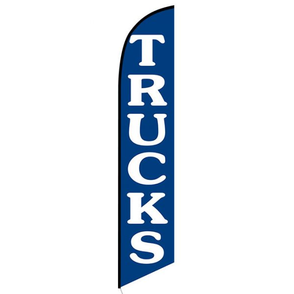 Trucks blue Feather Flag Banner