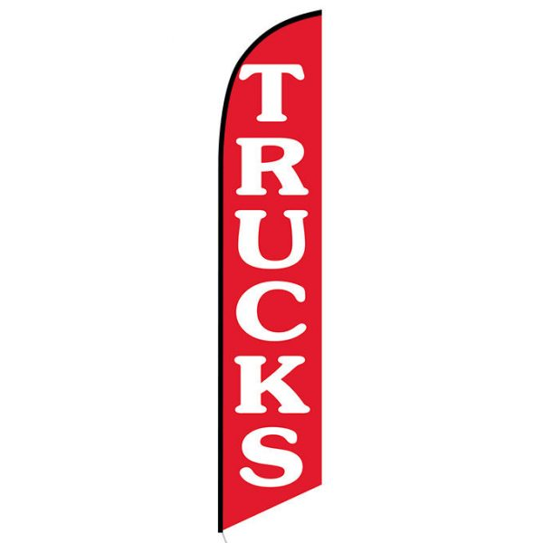 Trucks (Red) Feather Flag Banner