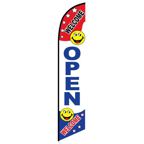 Welcome Open Feather Flag Banner