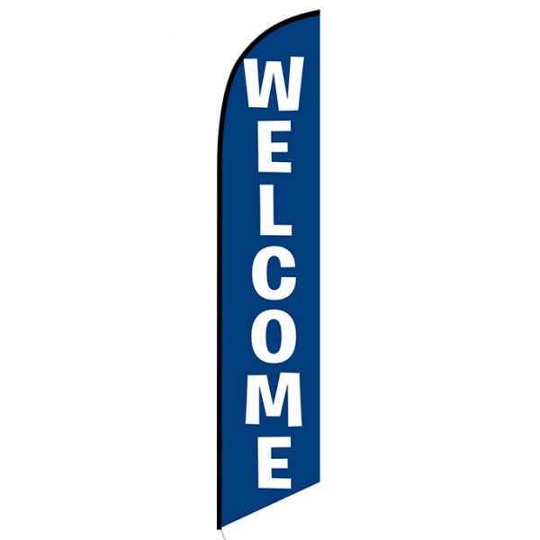 Welcome blue Feather Flag Banner