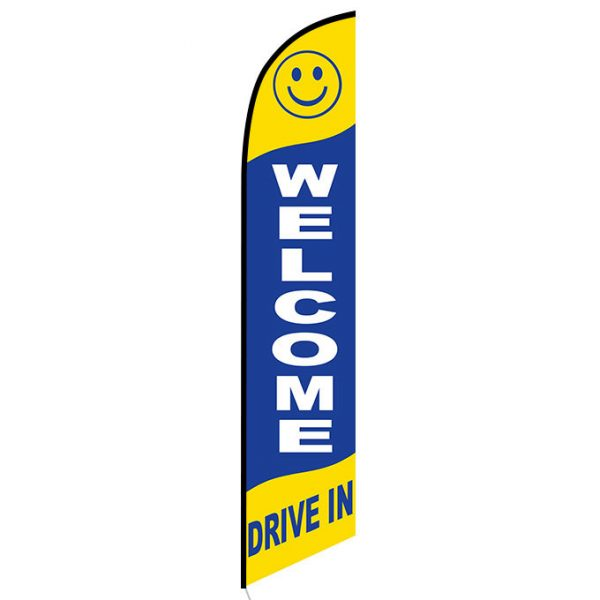 Welcome drive-in Feather Flag Banner