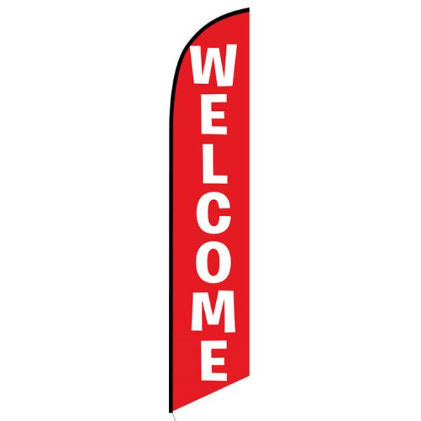 Welcome red Feather Flag Banner