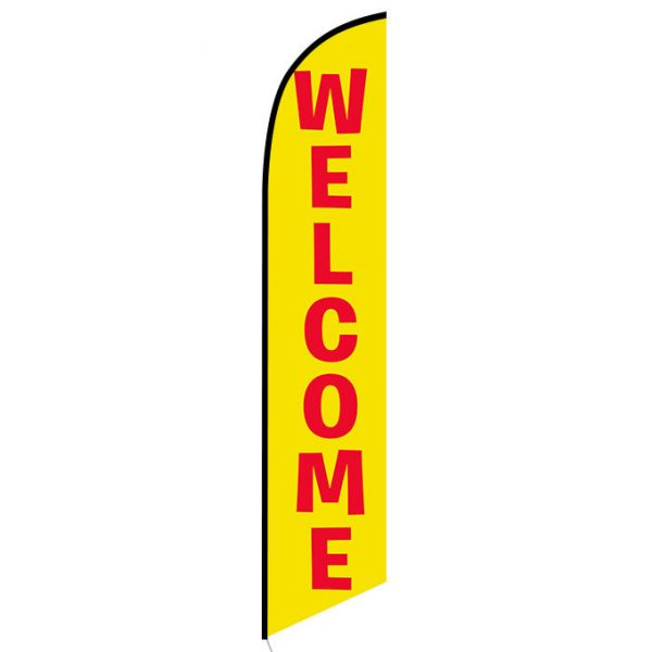 Welcome yellow Feather Flag Banner