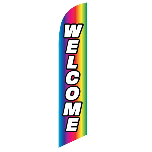 Welcome Rainbow Feather Flag Banner